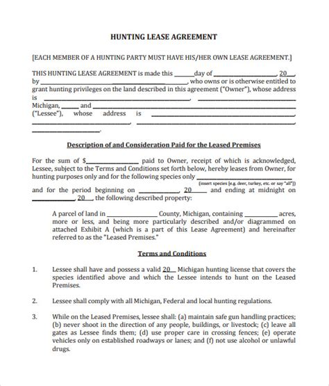 sle hunting lease agreement 10 documents in pdf word