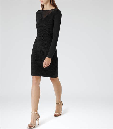 Aleena Dress aleena black textured bodycon dress reiss