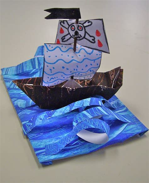 Origami Ship With Mast - use your coloured pencils paper pirate ships