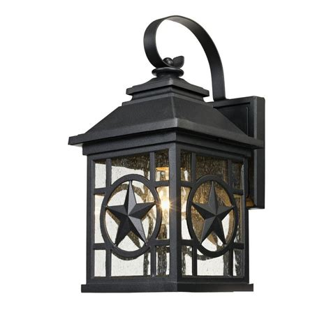 Laredo Texas Star Outdoor Black Medium Wall Lantern 1000 023 953 The Home Depot
