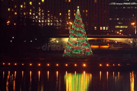 pittsburgh point state park christmas tree stock image