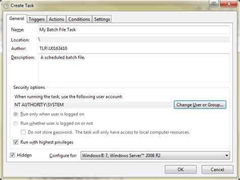 write exle windows run a batch file in a completely way user