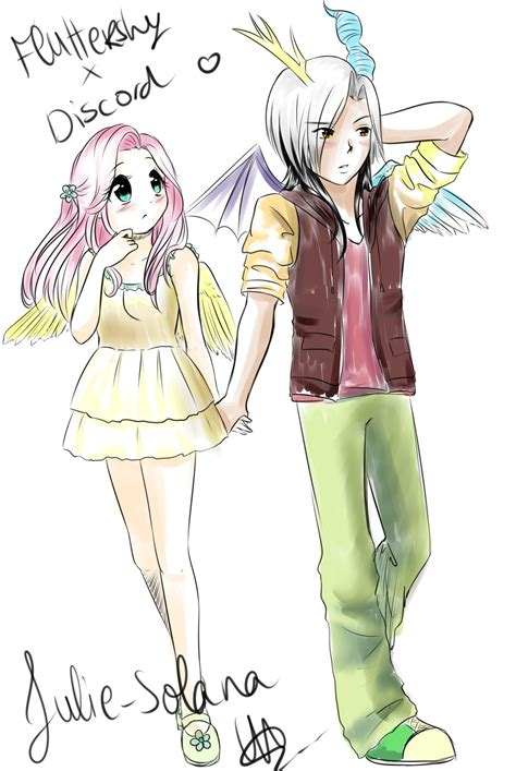 discord anime fluttershy and discord humanized by feather dream on