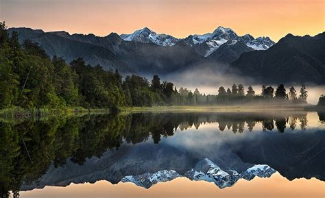nature landscape lake reflection sunrise mountain