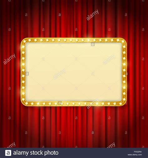 Red Theatre Curtains Golden Frame With Light Bulbs On Red Curtains Background