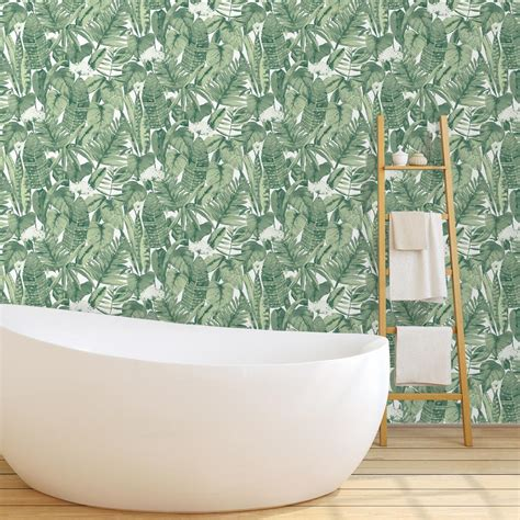 adhesive removable wallpaper tempaper tropical jungle green self adhesive removable