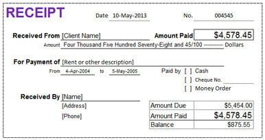 receipt to show you paid the band template 10 free rent receipt templates