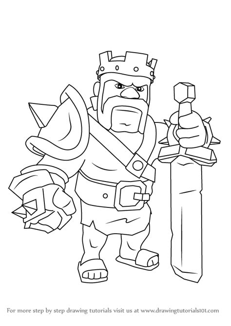 barbarian king coloring pages clash of clans barbarian king drawing images
