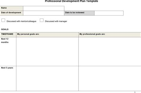 sle professional development plan templates download