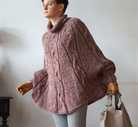 Knit Cape knitted poncho braided cape sweater avant garde traffic