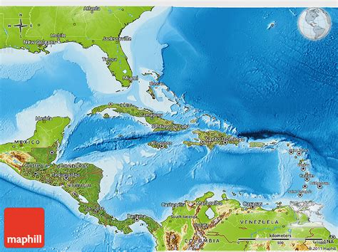 satellite 3d map of central america physical outside