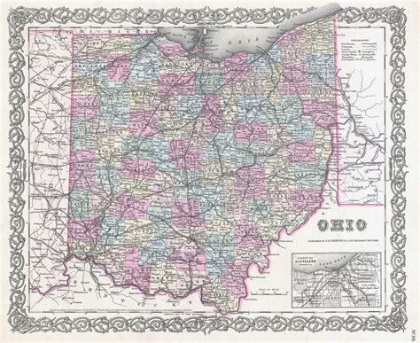 large map of ohio large detailed administrative map of ohio state 1855