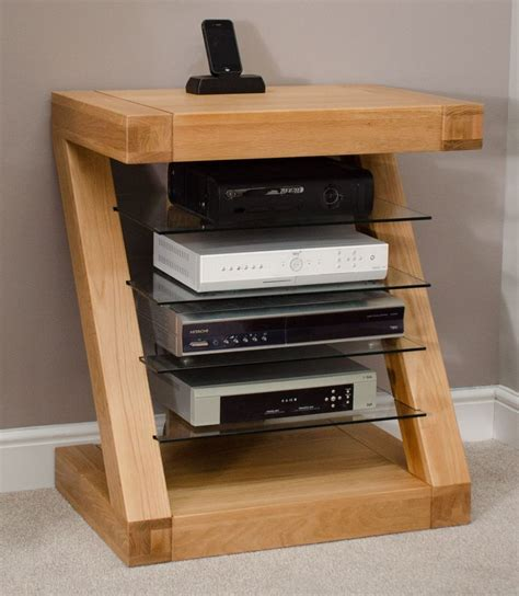 Zaria solid oak designer furniture hi fi cabinet DVD