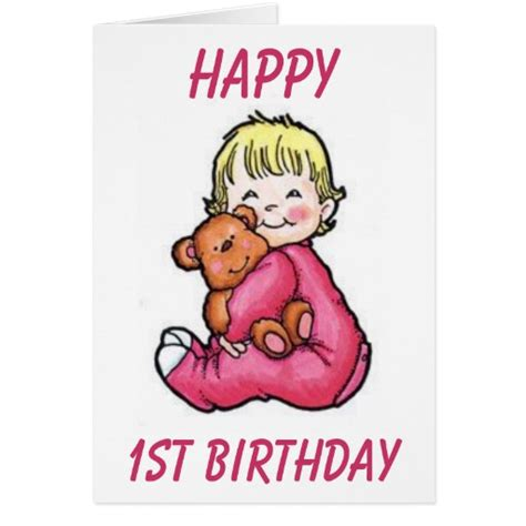 Happy 1st Birthday Card Happy 1st Birthday Greeting Cards Zazzle