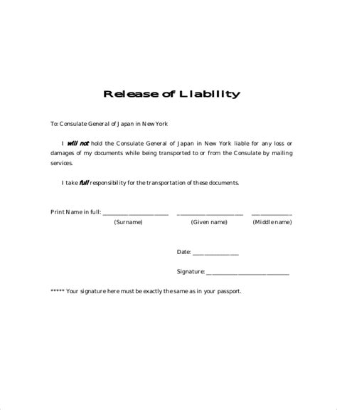 9 Free Release Of Liability Form Sles Sle Templates Free General Liability Release Form Template