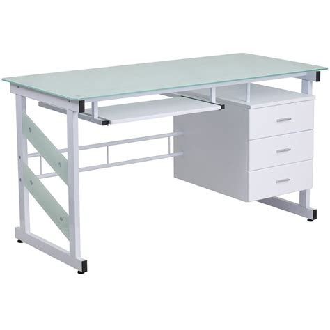 Flora Tempered Glass Desk Tempered Glass Computer Desk
