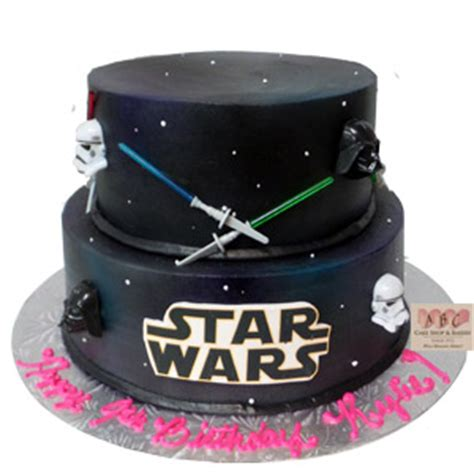 (2192) 2 Tier Star Wars Cake   ABC Cake Shop & Bakery