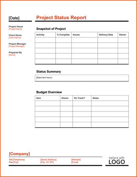 project status template bookletemplateorg