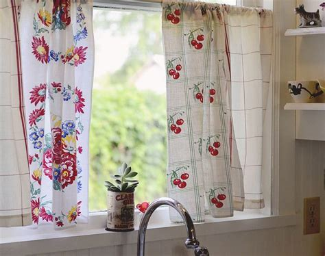kitchen curtain from vintage dishtowels kitchen