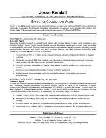 Collections Resume by Exle Collection Resume Free Sle
