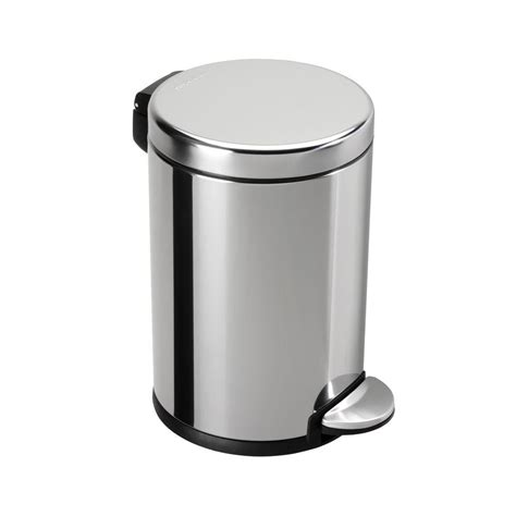 small wastebasket simplehuman 4 5 l polished stainless steel round mini step