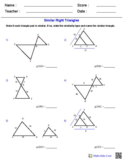 Similar Triangles Worksheet Answers geometry worksheets similarity worksheets