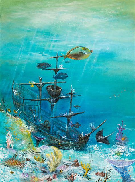 sunken ship habitat painting by john garland tyson
