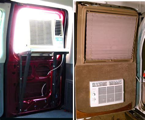 cargo van roof air conditioner diy a c window unit in rear van door ford truck