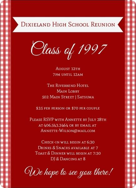Red And White Checkered Class Reunion Invitation Reunion Invitations Reunion Invitation Template