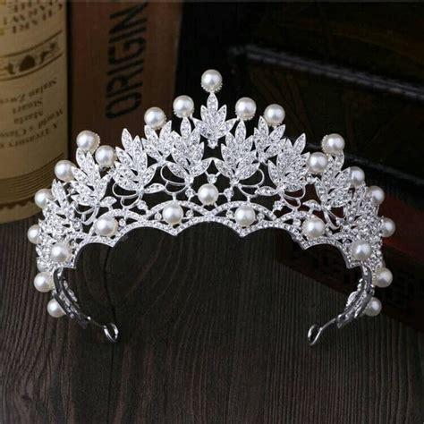 Mahkota Mutiara Bunga Silver Bahan Aksesoris jual mahkota pernikahan aksesoris rambut wedding crown di