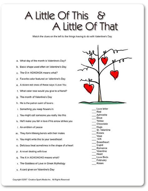 printable valentines quiz 31 best valentrine s trivia images on pinterest