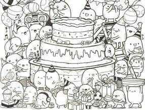 coloring happy birthday doodle cake 9