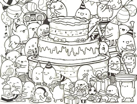 coloring pages for adults birthday adult coloring page happy birthday doodle cake 9