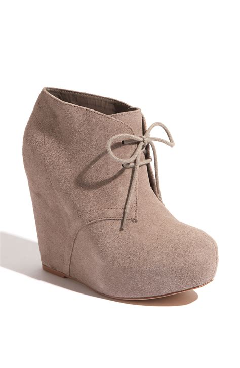 steve madden wedge boots steve madden annnie wedge bootie in gray taupe suede lyst