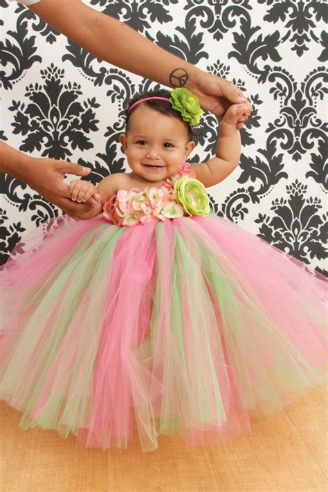 Dress Tutu Flower Green Pink flower for birthday months bouquet idea