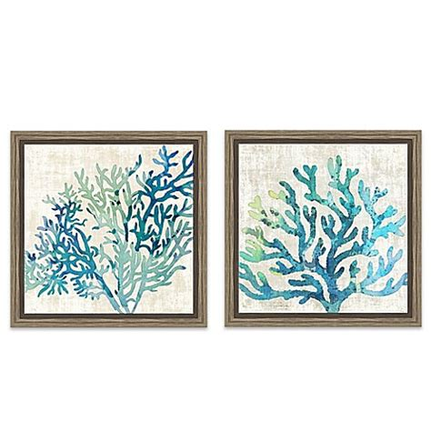 bed bath and beyond wall decor sea coral framed canvas wall art bed bath beyond