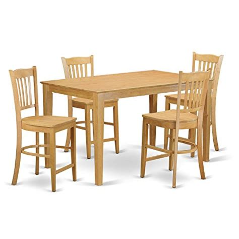 5 piece high top table set east west furniture cagr5h oak w 5 piece high top table