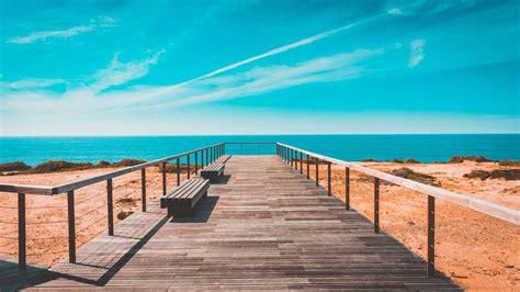 beach bench free stock photo of beach bench boardwalk