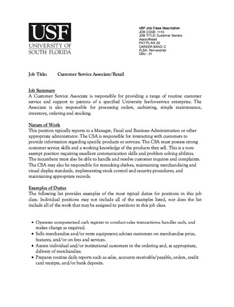customer service associate description resume