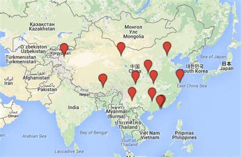 kiinan naehtaevyydet kartalla