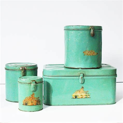 vintage tin kitchen canister set with matching breadbox