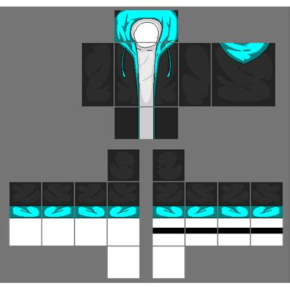 Jaket Sweater Roblox black jacket with cyan blue hoodie roblox
