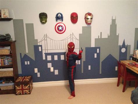 boys superhero bedroom i like the idea of hanging the masks on the wall