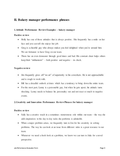 Bakery Manager Description by Bakery Manager Perfomance Appraisal 2