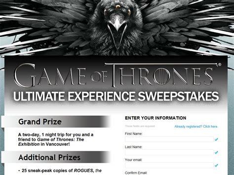 Sweepstakes Fanatics - game of thrones ultimate experience sweepstakes sweepstakes fanatics
