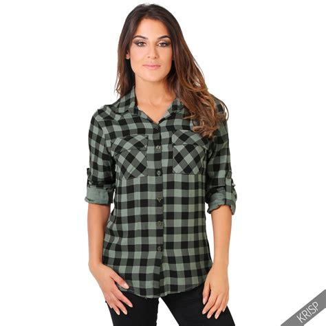 Tartan Blouse 1 womens checked tartan plaid print lumberjack sleeve button top shirt blouse ebay