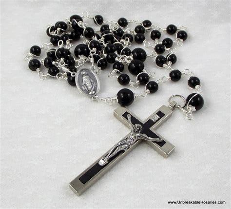white rosary catholic patron saints black onyx unbreakable clergy