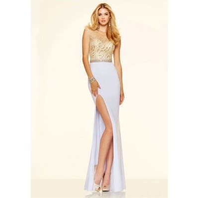 illusion neckline high slit backless white jersey gold beaded prom dress