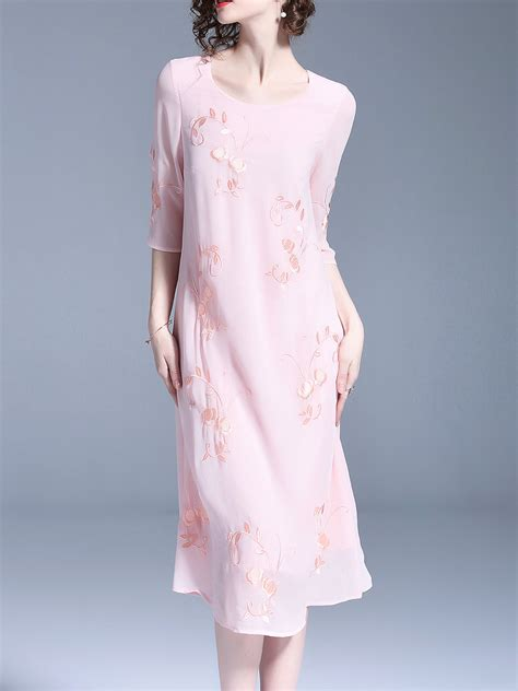 3 4 Sleeve Plain Dress stylewe midi dress shift dress 3 4 sleeve