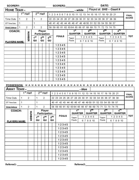 basketball scoresheet template best photos of printable basketball score sheet baseball